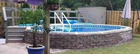 aquasport 52 pool semi inground with brick face
