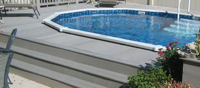 Aquasport 52 pool installed in Grey Deck with 3 tier step up