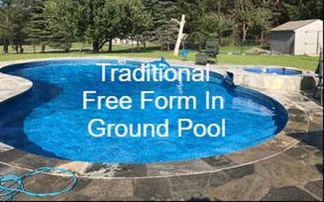 in ground free form pool, in ground pool with pavers